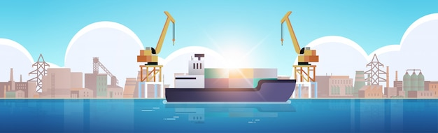 Grues dans le port de chargement des conteneurs sur la cargaison des navires mer port industriel