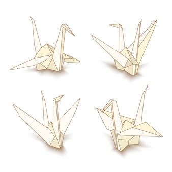 Grues en papier origami isolés