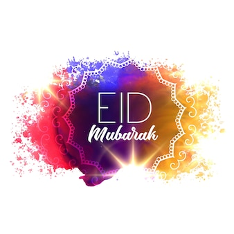 Grunge aquarelle avec le texte eid mubarak