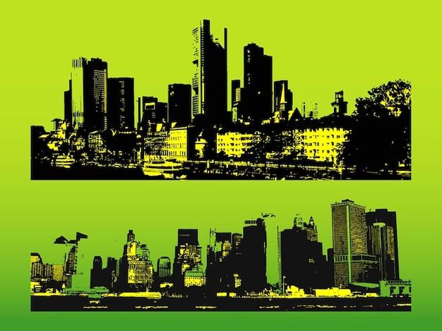 Grunge bâtiments de la ville d'illustration urbaine