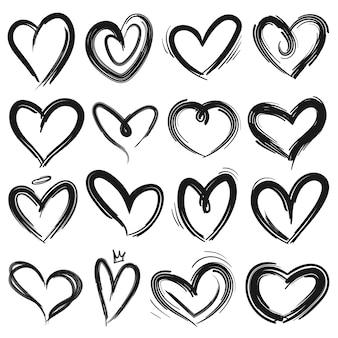 Grunge décoratif doodle coeurs dessinés à la plume
