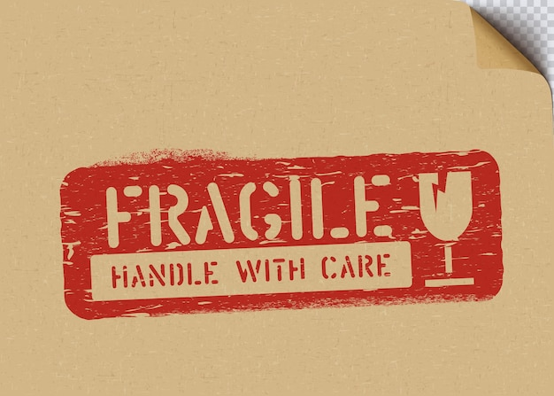 Grunge fragile fort signe sur papier kraft pour la logistique ou le fret
