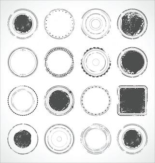 Grunge rond papier autocollants vector noir et blanc