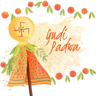 Gudi padwa aquarelle avec inscription traditionnelle