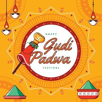Gudi padwa célébration dessiné à la main
