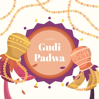 Gudi padwa design dessiné à la main