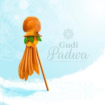Gudi padwa réaliste avec drapeau et ciel clair