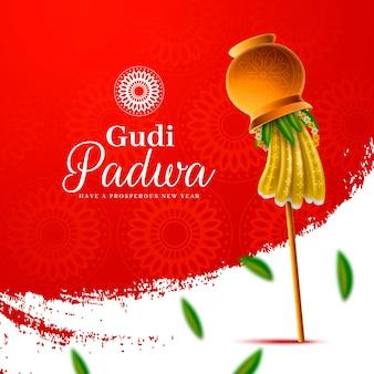 Gudi padwa réaliste avec drapeau et feuilles tombées