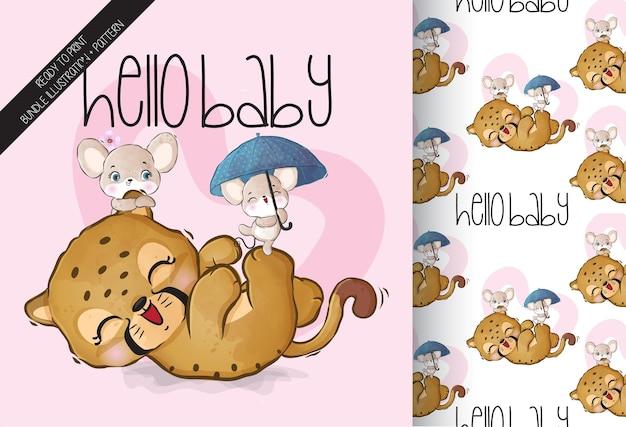Guépard mignon bébé animal heureux de jouer avec modèle sans couture de souris