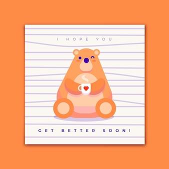 Guérissez bientôt joli gros ours avec une tasse de thé