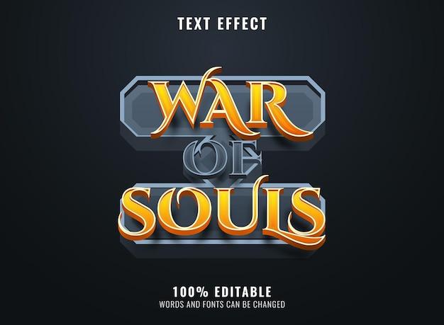 Guerre des âmes avec effet de texte modifiable de cadre en pierre pour le titre du logo du jeu médiéval rpg