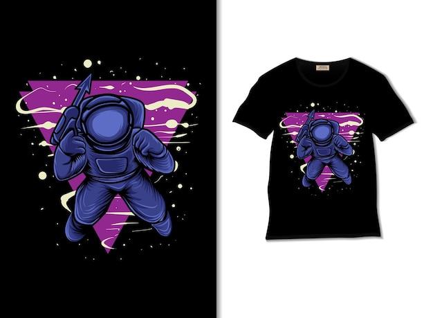 Guerre d'astronautes tenant un pistolet dans l'espace avec un design de t-shirt