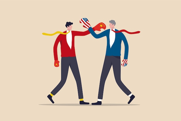Guerre commerciale des états-unis en chine, taxe tarifaire à l'exportation et à l'importation ou concept de guerre froide économique