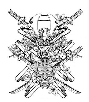 Guerrier d'art de tatouage et main géante dessin et croquis