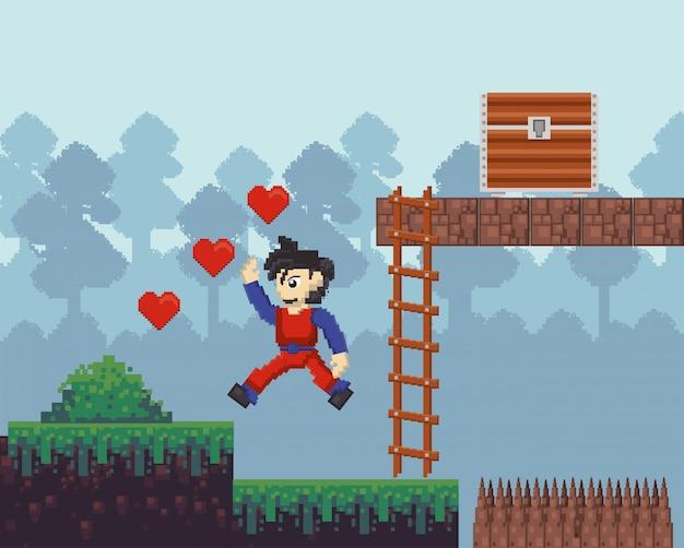 Guerrier de jeu vidéo sautant dans une scène pixélisée