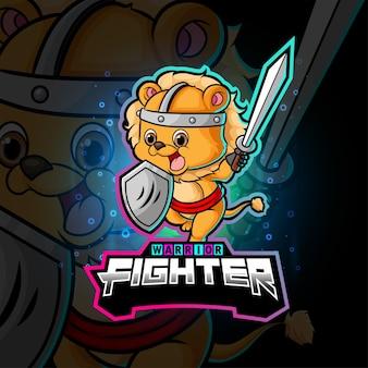Le guerrier lion cube sport mascotte design d'illustration