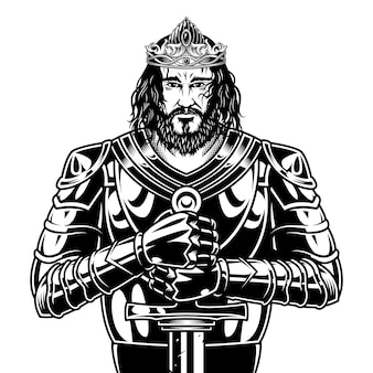 Guerrier médiéval monochrome vintage avec épée portant une cape de casque et une illustration vectorielle d'armure métallique