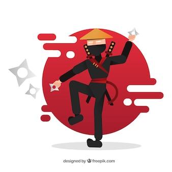 Guerrier ninja dessiné à la main