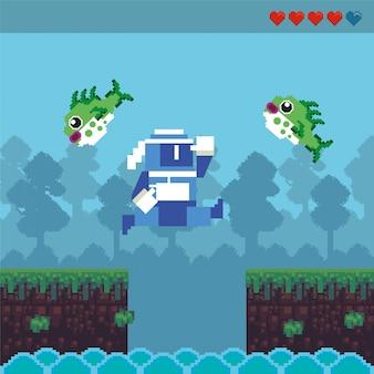 Guerrier ninja de jeu vidéo dans une scène pixélisée