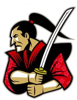 Guerrier samouraï avec l'épée traditionnelle katana
