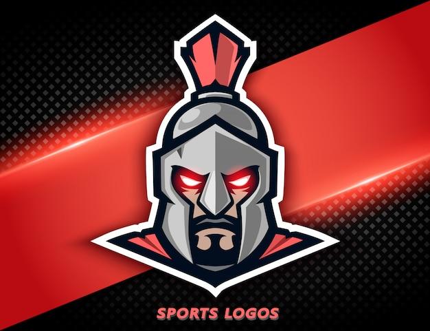 Guerrier spartiate de logo professionnel. mascotte de sport, label e-sport.