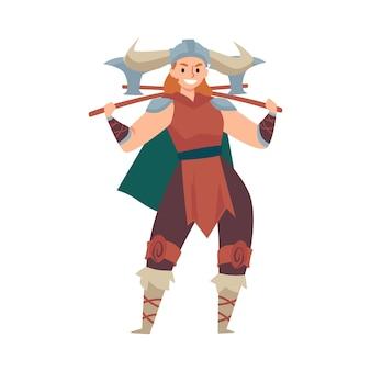 Guerrière viking en casque à cornes et armé d'axes, illustration vectorielle plane isolée sur surface blanche