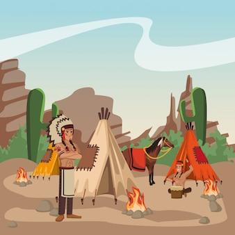 Guerriers indiens américains à la bande dessinée du village