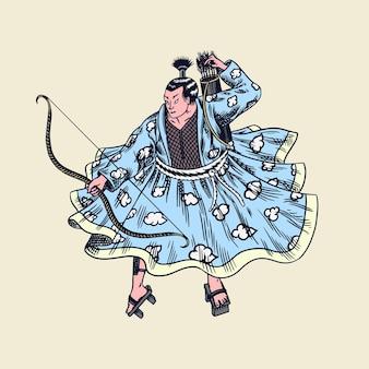 Guerriers Samouraï Japonais Avec Croquis D'armes. Vecteur Premium