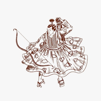 Guerriers samouraïs avec croquis d'armes