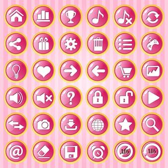 Gui button cercle rose avec bordure dorée