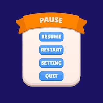Gui a mis en pause l'actif du jeu de menu vecteur premium