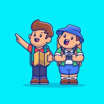 Guide touristique mignon et cartoon cartoon vector icon illustration. personnes et voyage icône concept isolé vecteur premium. style de dessin animé plat
