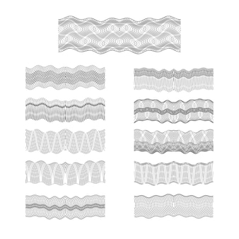 Guilloche vecteur bordures définir la texture motif de gravure argent