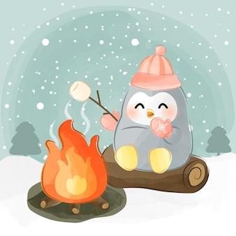Guimauve rôtie petit pingouin mignon