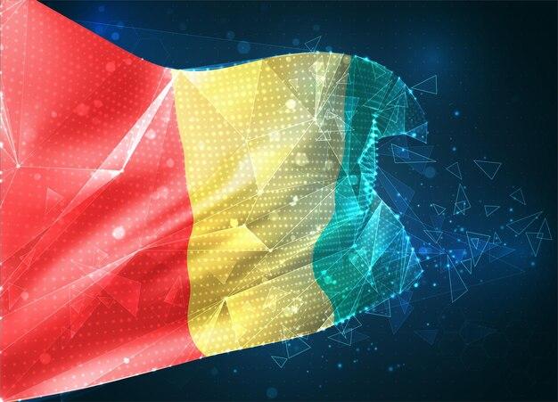 Guinée, drapeau vectoriel, objet 3d abstrait virtuel à partir de polygones triangulaires sur fond bleu
