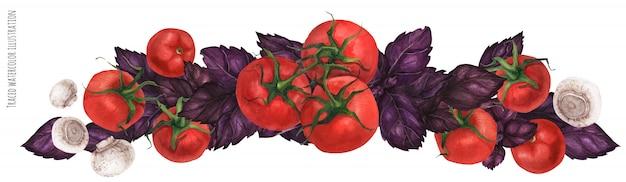 Guirlande de basilic avec tomates et champignons