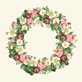 Guirlande de belles fleurs sauvages en fleurs