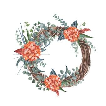 Guirlande avec bouquet de fleurs rouges.