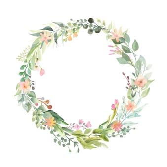 Guirlande de bouquets de fleurs roses.