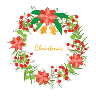 Guirlande des chrismas et nouvel an. la couronne avec hortensia rouge, opium viburnum, feuille et deux cloche est vecteur pour objet, cadre et carte. l'objet est la collection pour noël et nouvel an. le vecteur n'est pas trace ou copie de l'image.