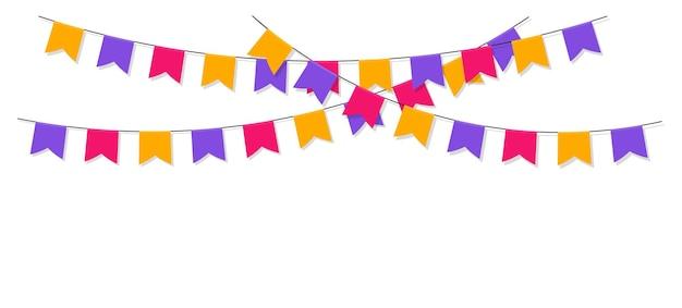 Guirlande colorée avec des drapeaux de célébration