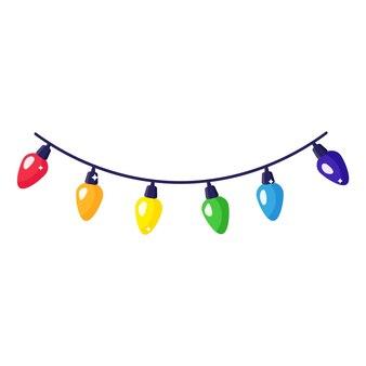 Guirlande colorée festive de dessin animé de noël.