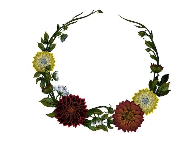 Guirlande de dahlias. cadre floral.