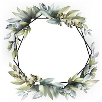 Guirlande De Décoration De Mariage Avec Plante Nature Vecteur Premium