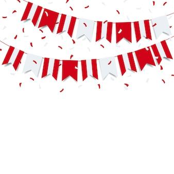 Guirlande avec le drapeau du pérou sur fond blanc.