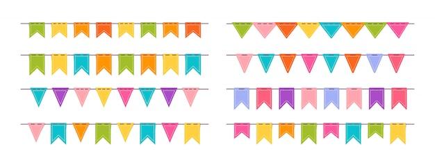 Guirlande de drapeau, ensemble plat de fête d'anniversaire. anniversaire de bunting. fête de célébration collection de dessins animés de drapeaux suspendus. illustration isolée