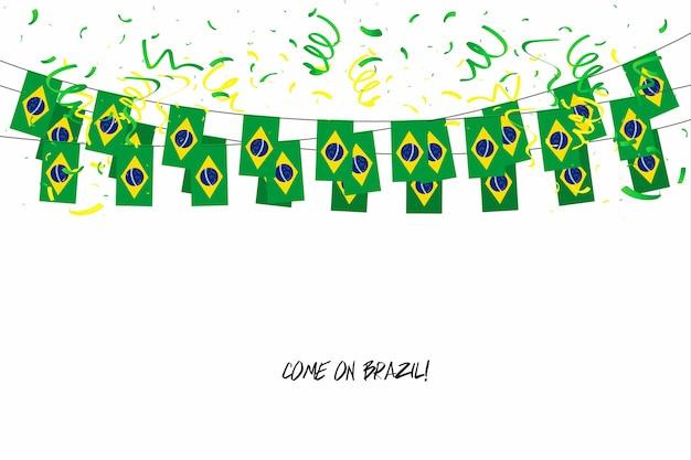 Guirlande de drapeaux du brésil avec des confettis sur fond blanc.
