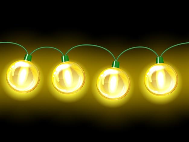 Guirlande festive de lampe jaune. transparente sur fond noir
