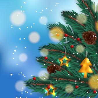 Guirlande de feuilles de sapin, sapin de noël avec décoration, pomme de pin et ciel bleu bokeh