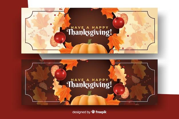 Guirlande de feuilles séchées sur des bannières réalistes de thanksgiving